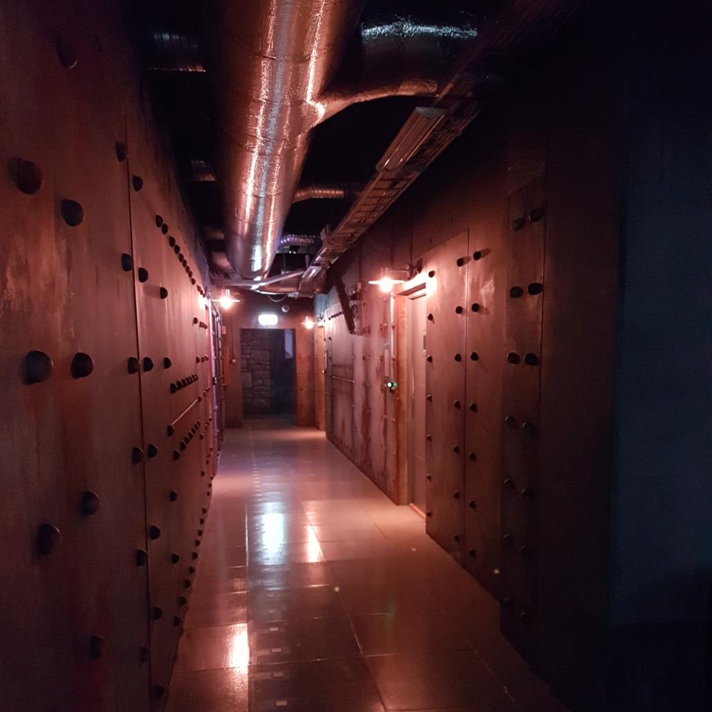 En mørk kjellerkorridor i industristil med mange dører